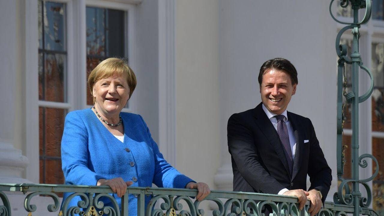 La chancelière Angela Merkel avec le président du Conseil italien Giuseppe Conte, au château de Meseberg (Berlin), le 13juillet 2020.