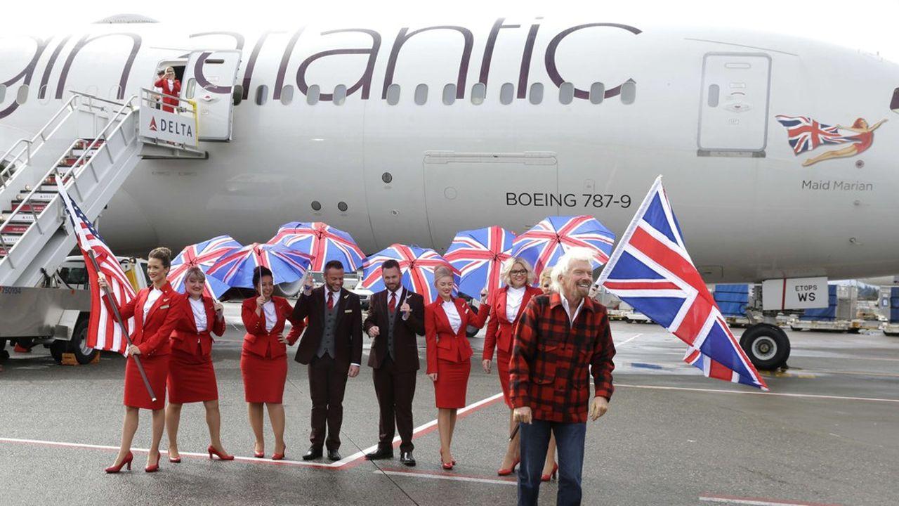 Sir Richard Branson, devant l'un des avions de sa compagnie aérienne, Virgin Atlantic. Un actif d'autant plus important pour Virgin Group qu'il porte les couleurs de sa marque partout sur la planète.Ted S. Warren/AP/SIPA