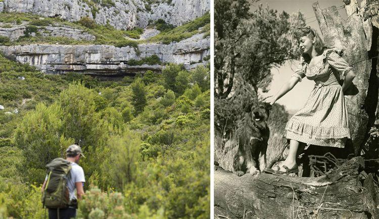 Cachée dans la colline, la grotte de Manon, où Pagnol tourna Manon des sources en 1952, avec son épouse Jacqueline (ci-dessous) dans le rôle-titre.