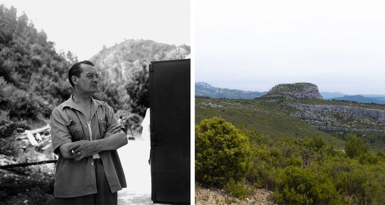 A gauche : Marcel Pagnol (ici vers 1950). A droite : le pic du Taoumé domine les collines qu'arpentait le jeune Marcel, durant ses étés à La Treille