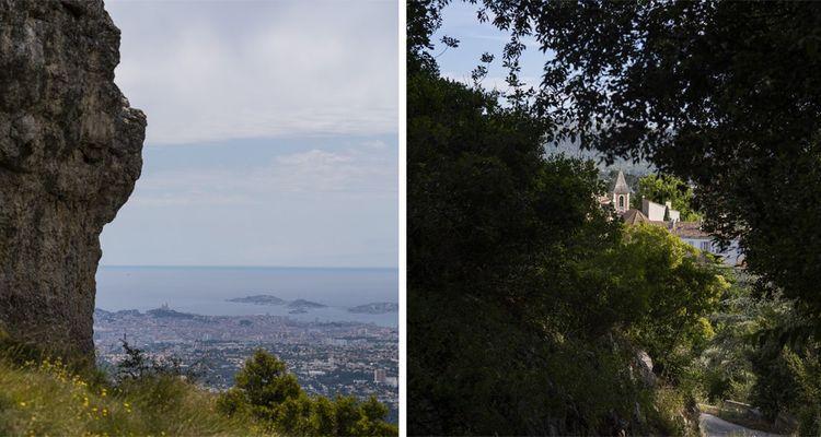 A gauche : depuis le Taoumé, la vue à 360 degrés dévoile tout Marseille, la Bonne Mère, l'archipel du Frioul et le château d'If. A droite : vue sur le village de La Treille