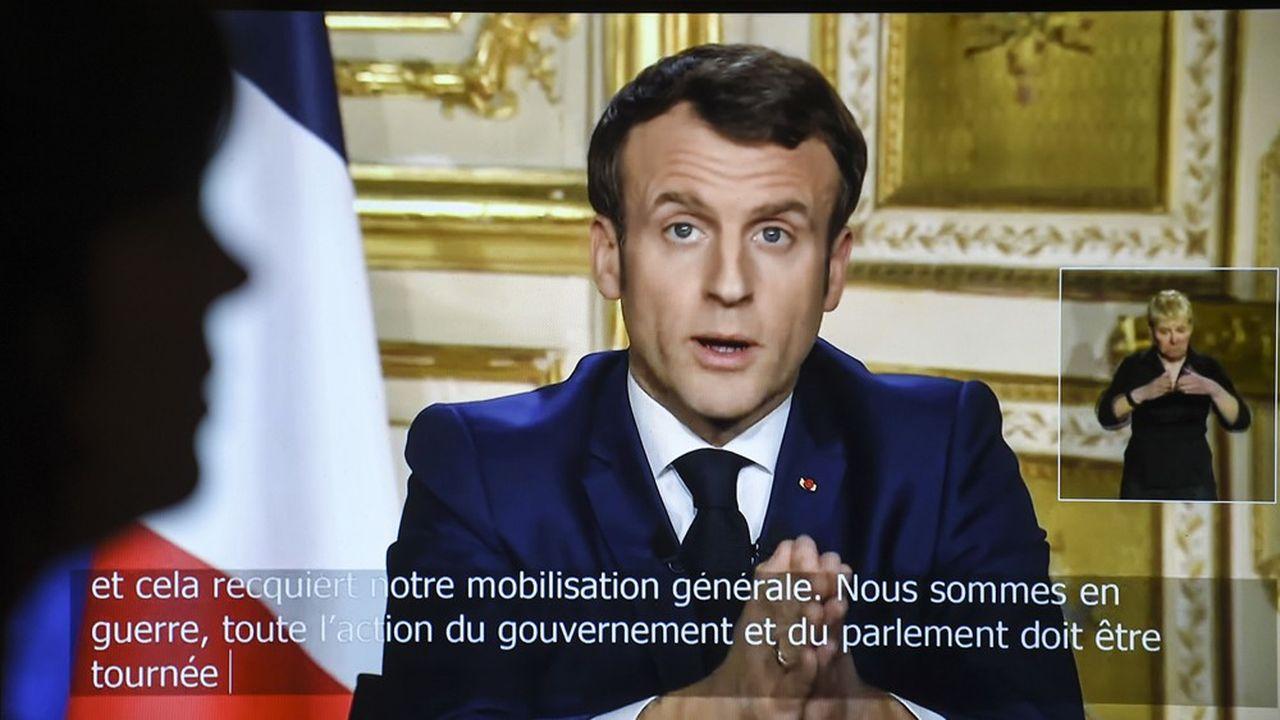Emmanuel Macron lors de son intervention télévisée du 16mars 2020.