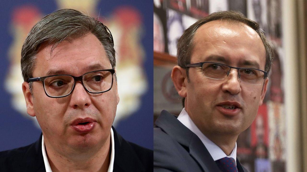 Aleksandar Vucic (gauche), président serbe, et Avdullah Hoti (droite), Premier ministre kosovar, se sont rencontrés jeudi, à Bruxelles.