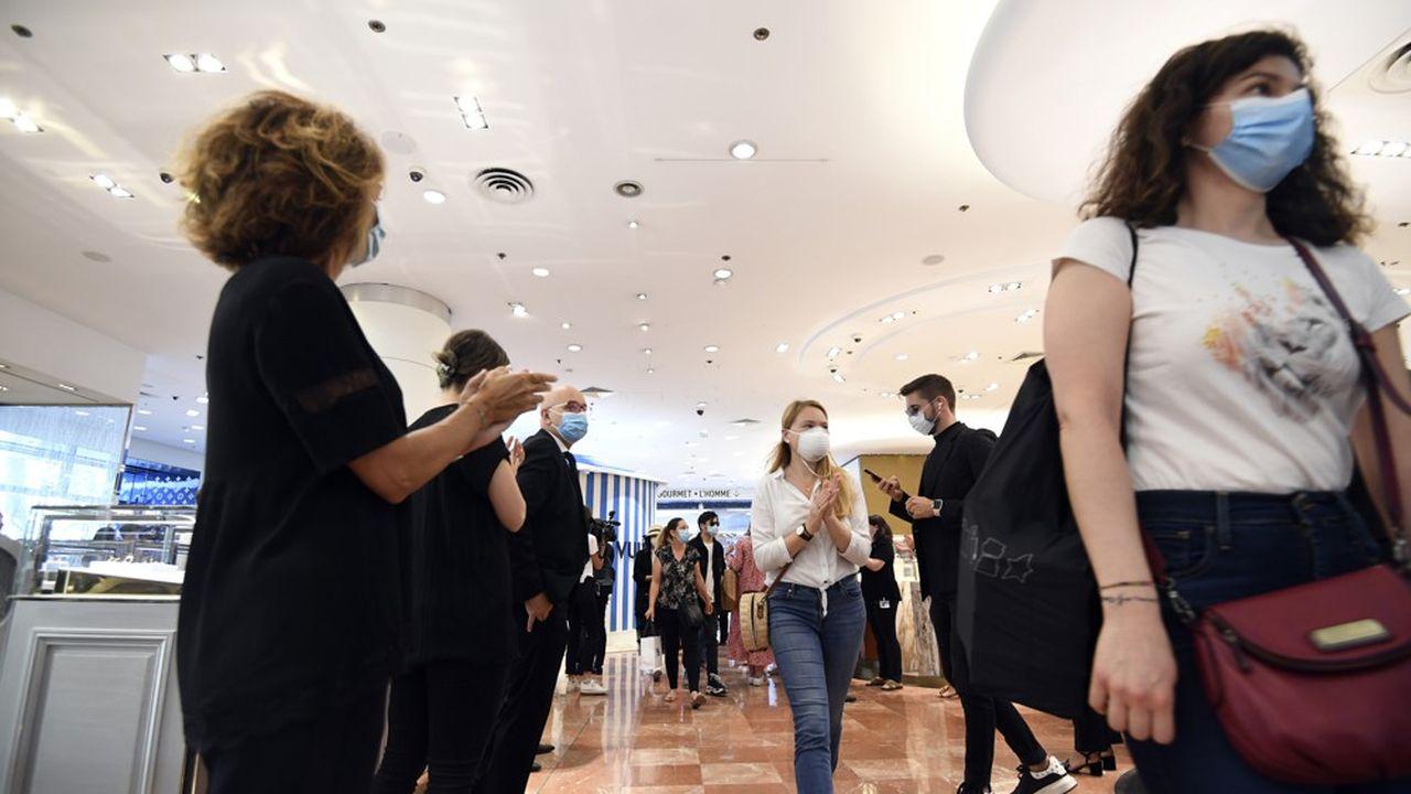Réouverture des Galeries Lafayette, le 30mai 2020, à Paris.