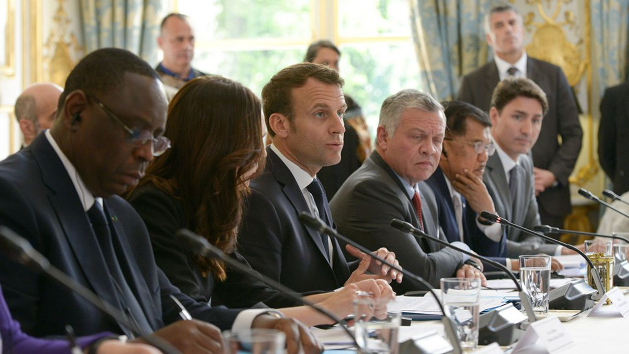 Emmanuel Macron en2019 lors du deuxième sommet Tech For Good, à Paris.