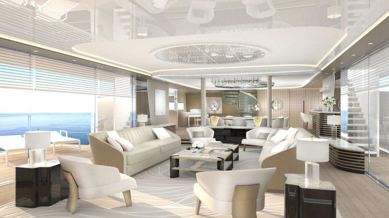 Un intérieur de méga yacht développé parPhilippe Renaudeau avec le designerNicola Borella.