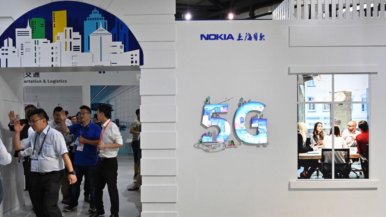 Un stand Nokia à Shanghai en juin2019. Le finlandais emploie en Chine 16.000salariés, soit 15% du total.