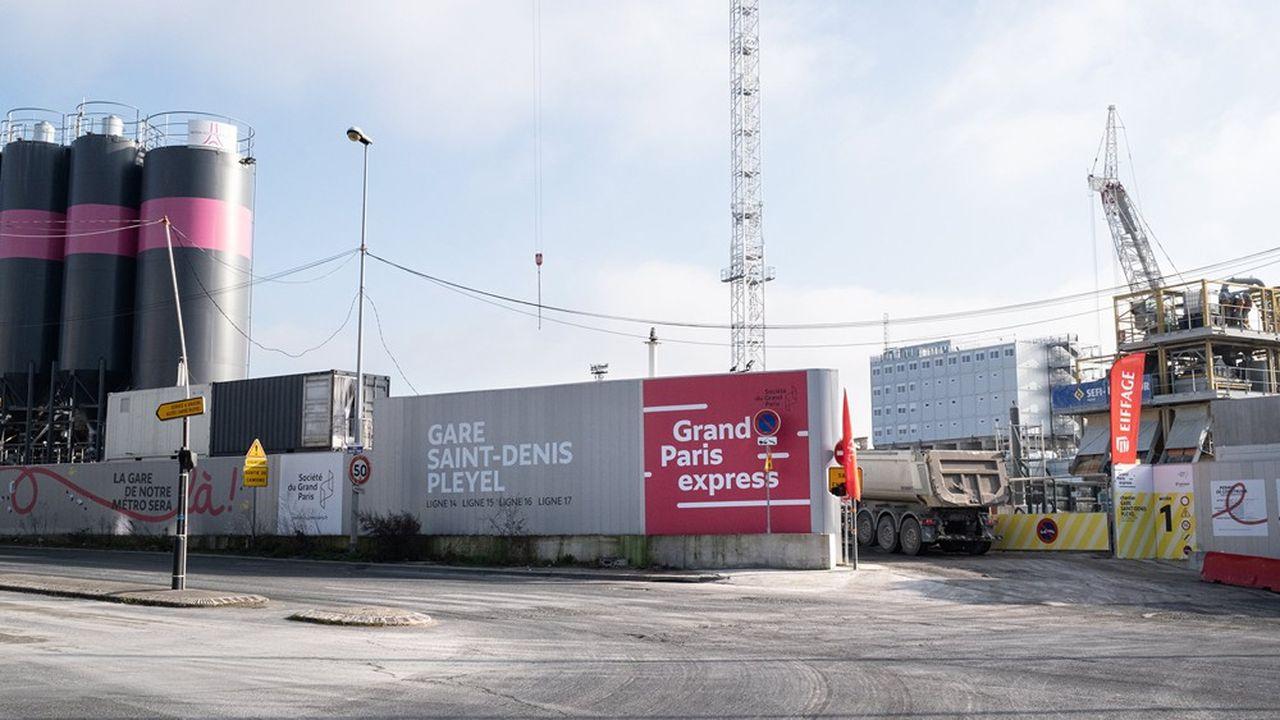 Les travaux de la future gare Saint-Denis Pleyel, à Saint-Denis, le 22janvier 2020.