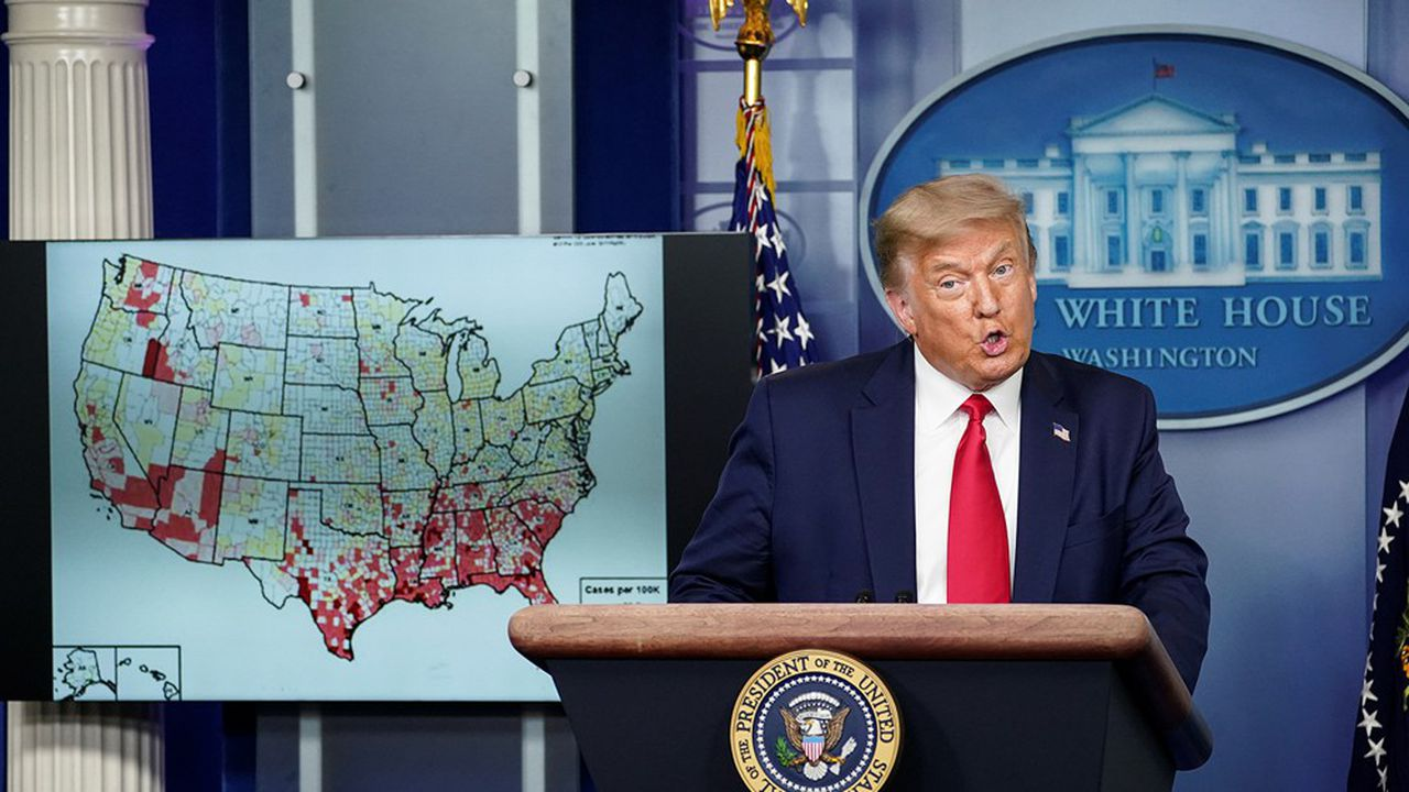 Donald Trump, lors d'un point presse à la maison blanche le 23juillet 2020.