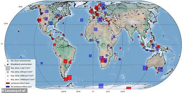 Localisation des 268 stations sismiques mondiales. En rouge, les 185 stations où les effets de confinement ont été observés.