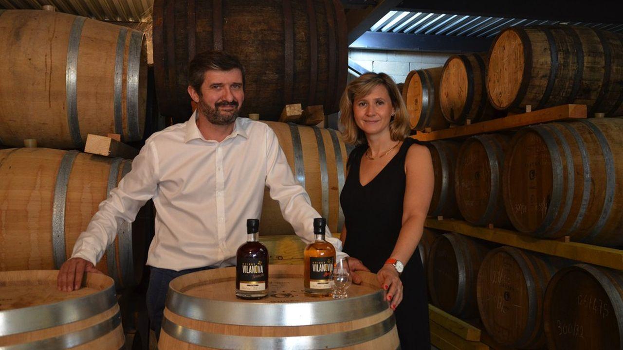 Sébastien et Céline Castan ont vendu leur premier tonneau de whisky Vilanova en avril2013.