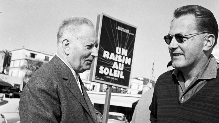 Jean Giono, président du jury du Festival de Cannes, et François Chalais en 1961