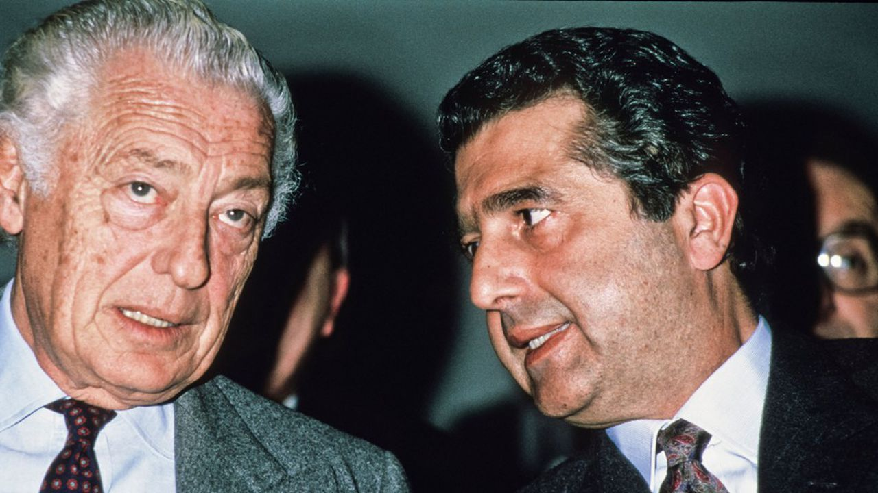 Gianni Agnelli et Carlo De Benedetti dans les années 1980.