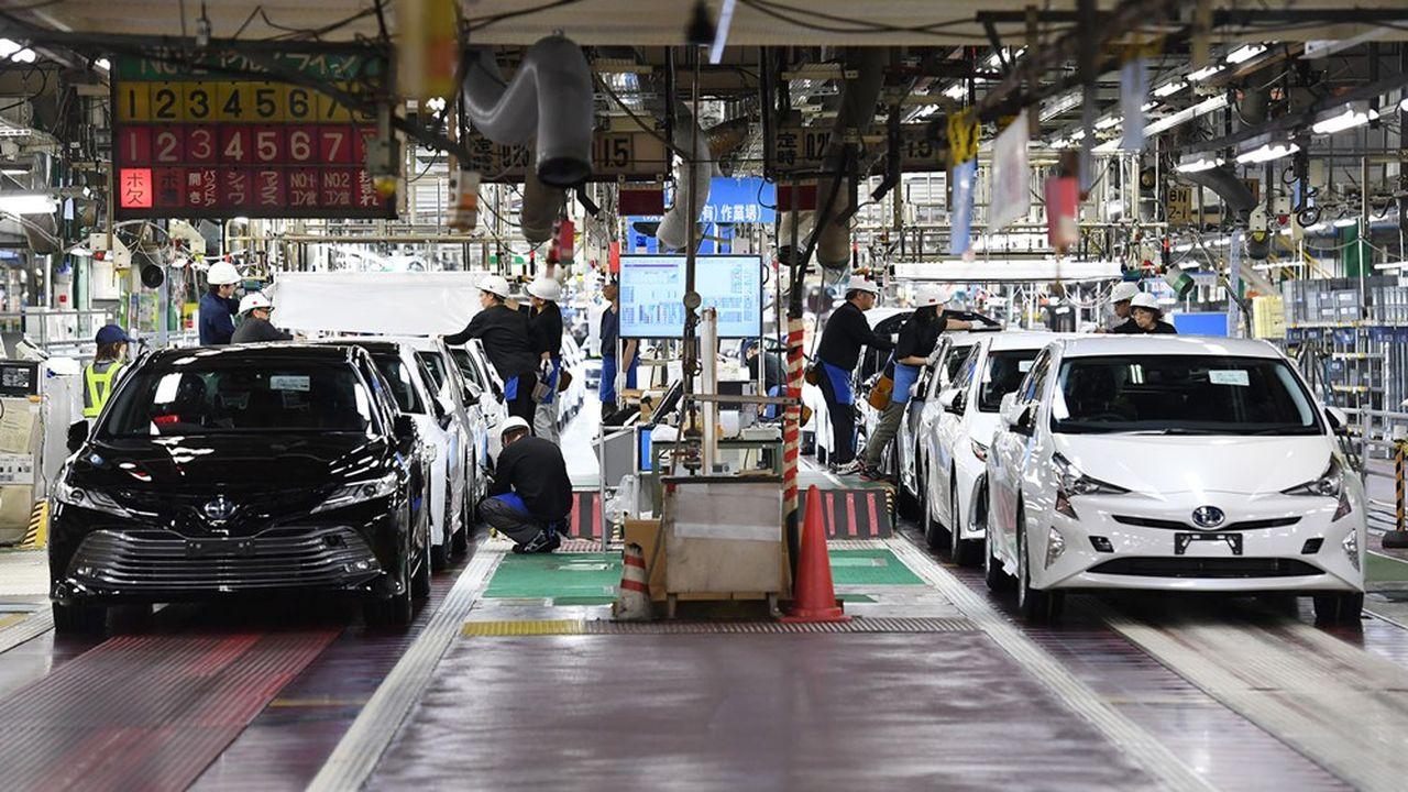 Le constructeur japonais se pense en capacité de vendre sur un an, toutes marques et réseaux confondus, 9,1millions de véhicules, contre 10,5millions sur l'exercice précédent (ici une usine de Toyota City, dans la préfecture d'Aichi)