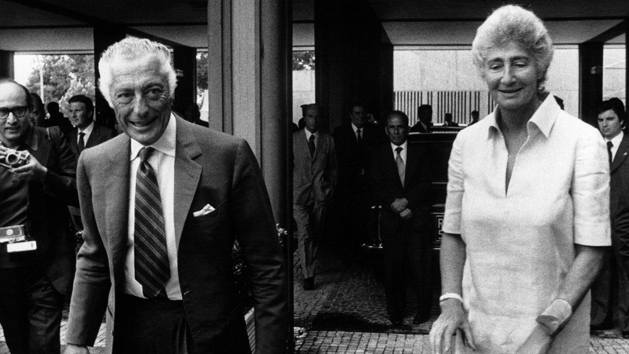 Gianni Agnelli avec sa soeur Susanna Agnelli, lors de l'assemblée annuelle de la Confindustria, à Rome le 23 juillet 1966.