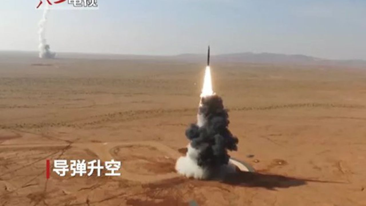 Une image des tests de missiles chinois diffusée peu après que Washington a annoncé un test de son missile Minuteman III
