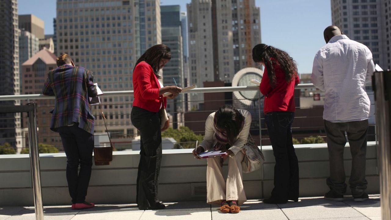 Il y a 16,3millions de personnes officiellement au chômage en juillet aux Etats-Unis, 10,6millions de plus qu'au mois de février.