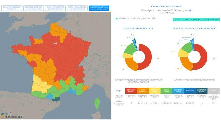 Info-sécheresse se veut non seulement complet mais convivial et présente les données sous forme cartographique, à l'échelle du département.