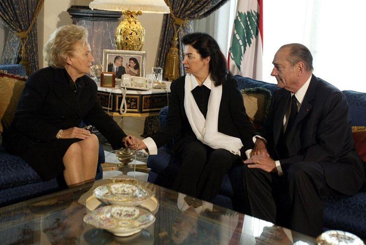 Jacques et Bernadette Chirac en compagnie de Nazek Hariri, la femme de Rafic Hariri, le 16février 2005.