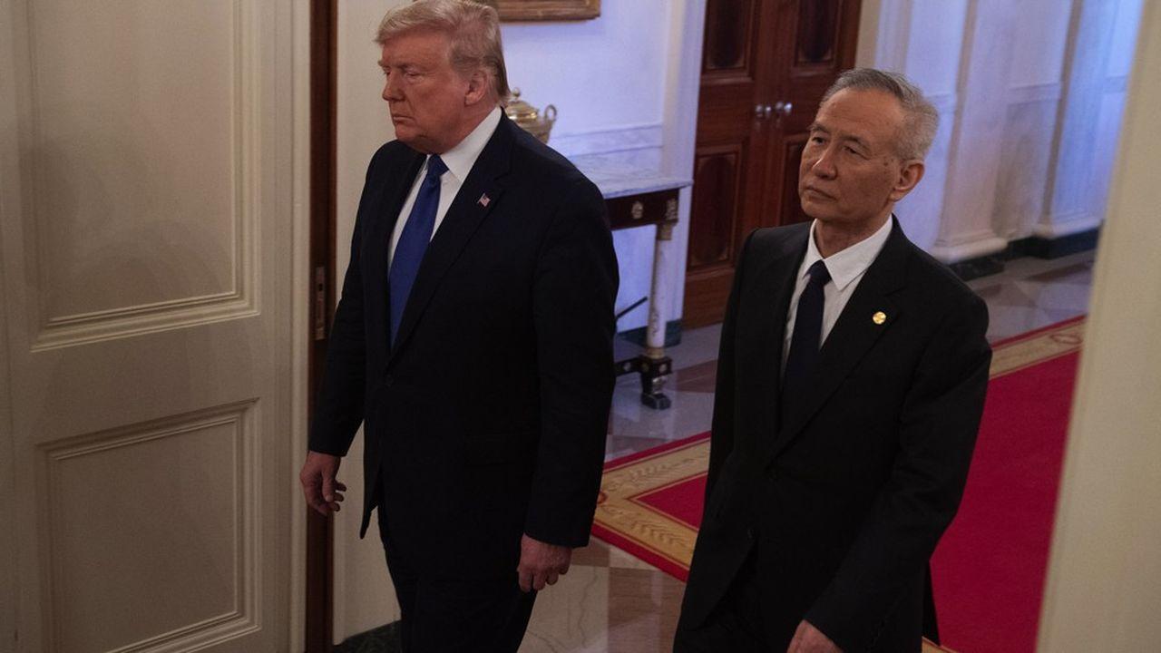 Donald Trump et le vice-président chinois Liu He le 15janvier dernier, à l'occasion de la signature de l'accord commercial.