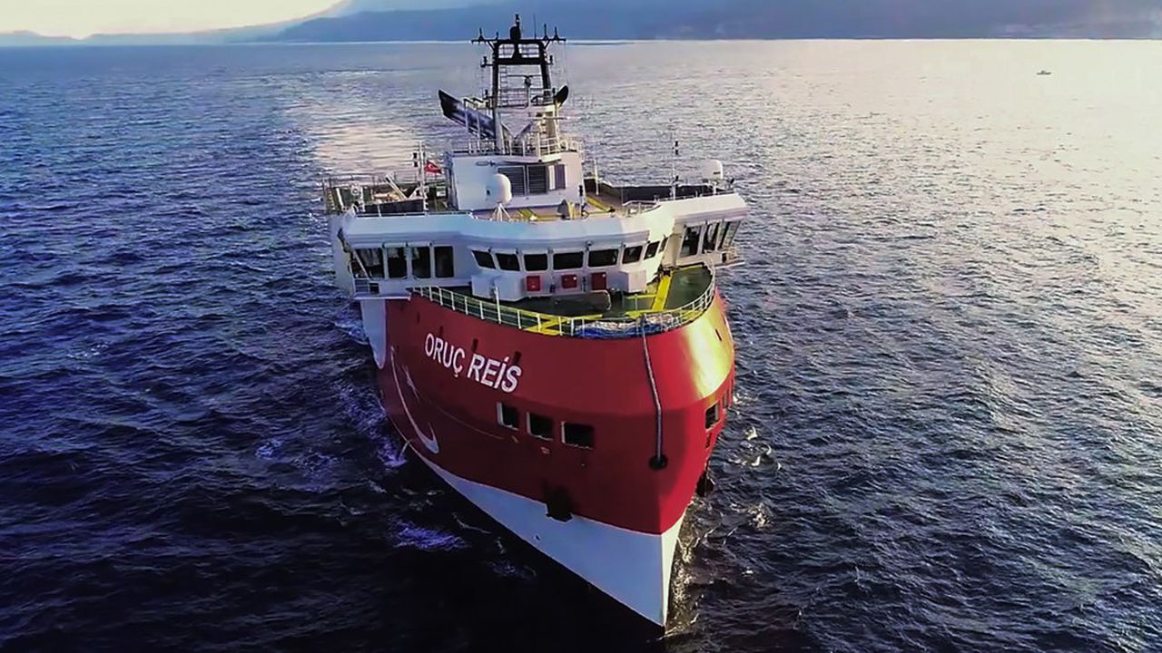 Ankara a envoyé le navire d'exploration sismique Oruç Reis au large de l'île grecque de Kastellórizo le 10août (photo du ministère de la Défense turc).