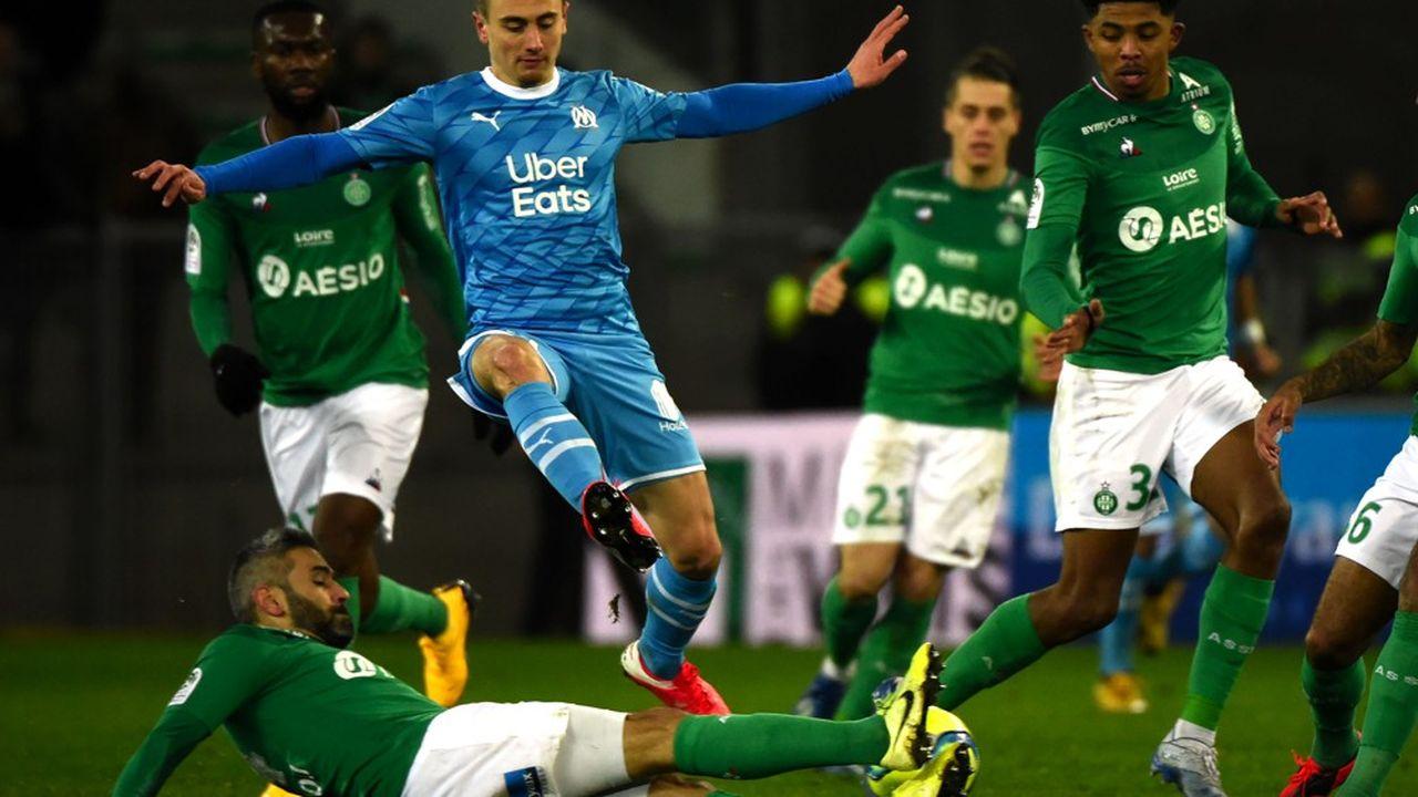 L'Association sportive de Saint-Etienne contre l'OM en février2020.