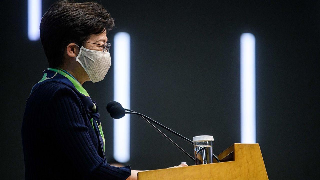 Carrie Lam, la cheffe de l'Exécutif de Hong Kong, rencontrait pour la première fois les journalistes depuis l'arrestation très médiatisée de Jimmy Lai, le patron de presse pro-démocratie.