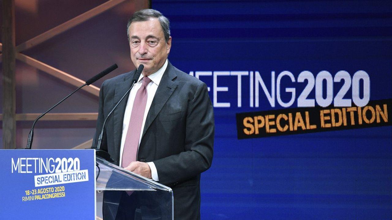 Mario Draghi lors de sa première allocution publique depuis son départ de la BCE.