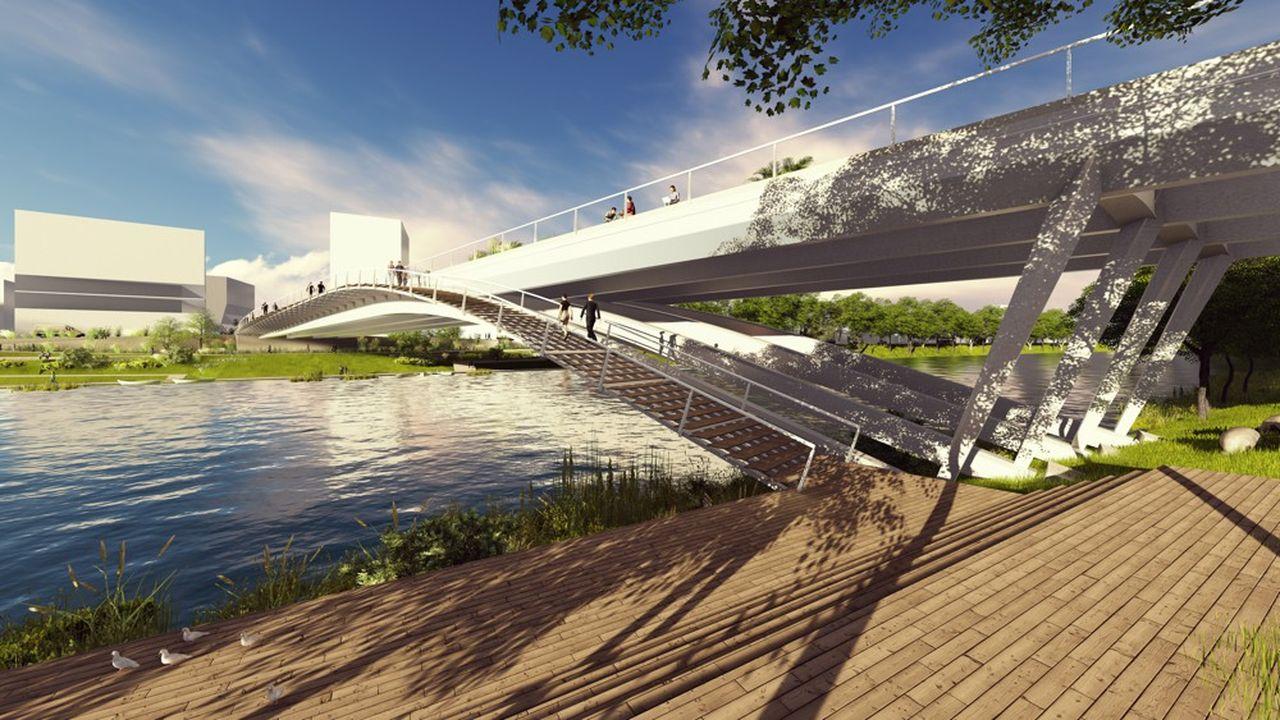 Long de 140 mètres cet ouvrage sera dédié au passage, sur deux voies, des bus, cyclistes et piétons.