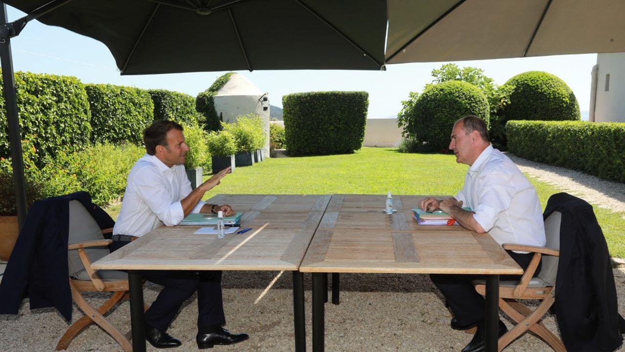 Emmanuel Macron et Jean Castex au Fort de Brégançon, vendredi.
