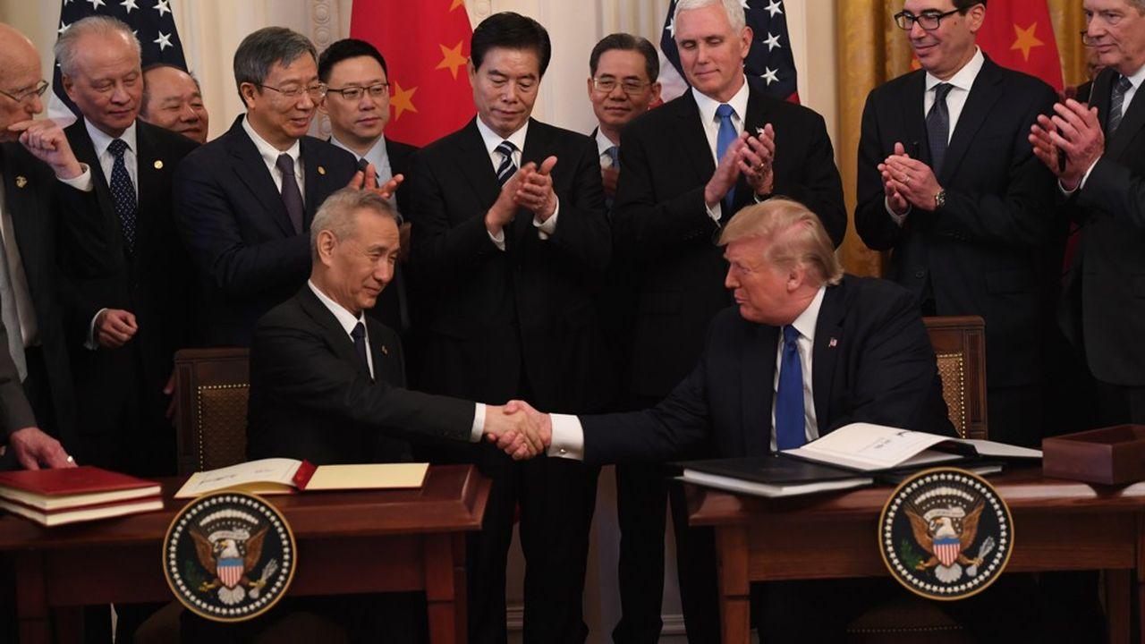 Le vice Premier ministre, Liu He, lors de la signature d'un accord à la Maison-Blanche à Washington, le 15 janvier 2020.