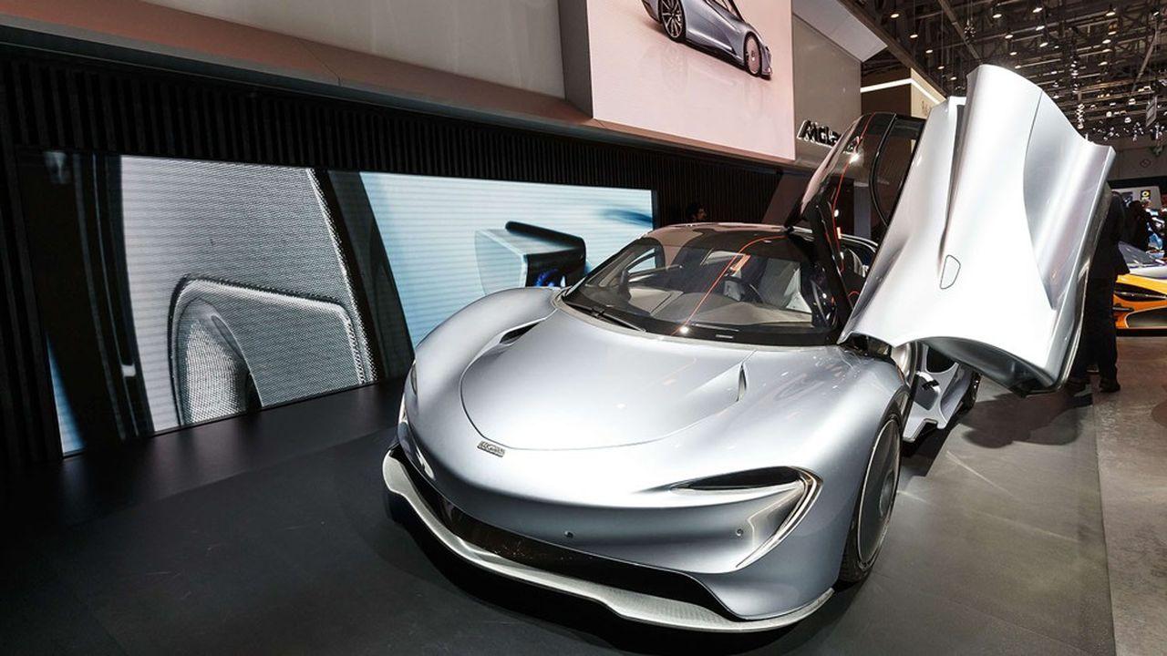 McLaren fabrique déjà deux modèles hybrides, la P1 et la Speedtail (ici lors de sa présentation au salon de Genève, en mars2019).