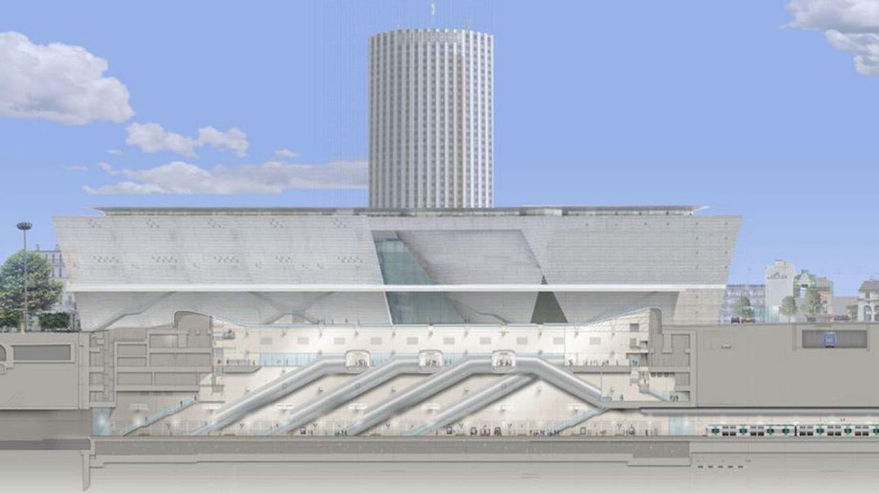La nouvelle gare située au coeur de la porte Maillot prévoit d'accueillir le RERE -qui va aujourd'hui de la gare Saint-Lazare à Tournan (Seine-et-Marne).