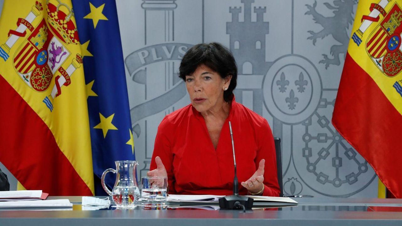 La ministre de l'Education, Isabel Celaá, a défini avec les régions le cadre d'une rentrée scolaire «présentielle et sûre».