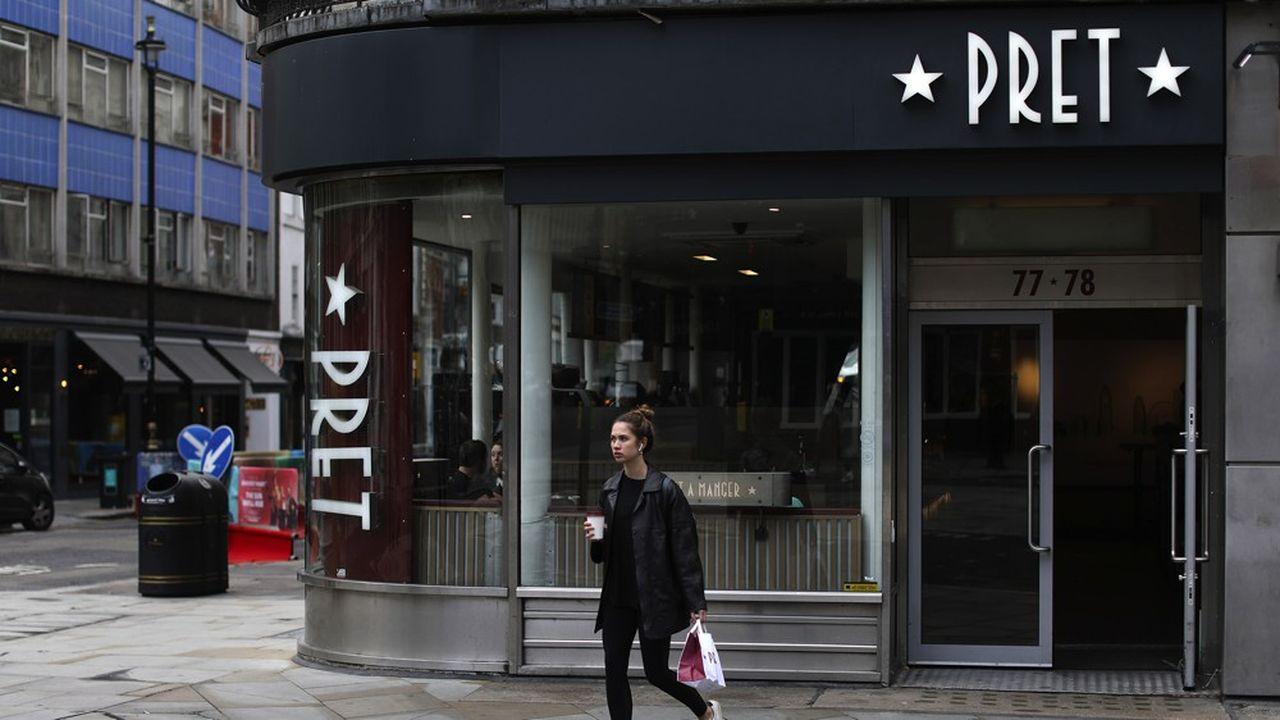 Dans le quartier d'affaires de la City, à Londres, les ventes de Pret A Manger ont chuté de 85% fin juillet par rapport à ce qu'elles sont habituellement à cette époque de l'année.