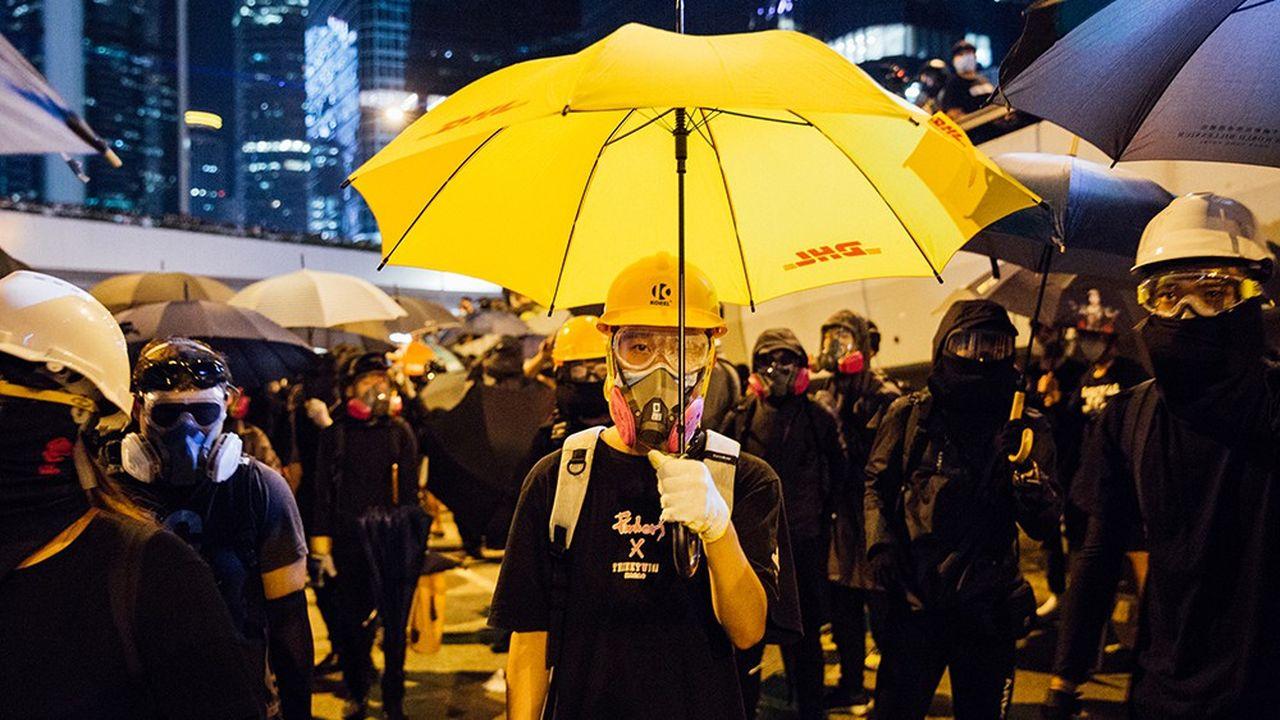 28 septembre 2019. Face-à-face avec la police, lors de la manifestation commémorant les 5 ans de la révolution dite des parapluies.