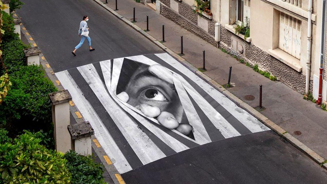 JR / 'Finding hope, Day view, Paris, France, 2020. Colour photograph, mat plexiglass, aluminium, wood. 180 x 132 cm, elle est tirée à trois exemplaires.