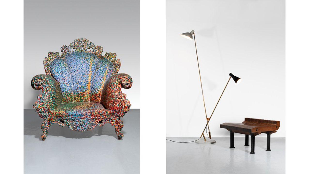 Le fauteuil Proust d'Alessandro Mendini, le lampadaire Mod.1049 de Vittoriano Vigano et le banc du Studio BBPR