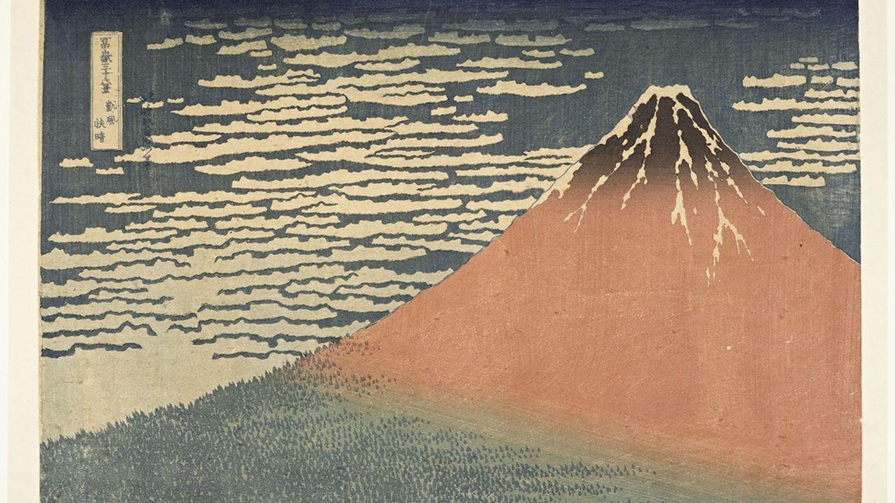 «Vent frais par matin clair», dit «Le Fuji rouge», série «Trente-six vues du mont Fuji», de Katsushika Hokusai.