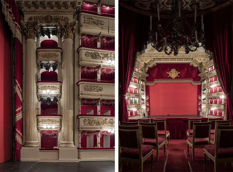 La Scala a été inaugurée en 1778 et reconstruite à l'identique après les bombardements de 1943. Les loges, le Palco Reale.