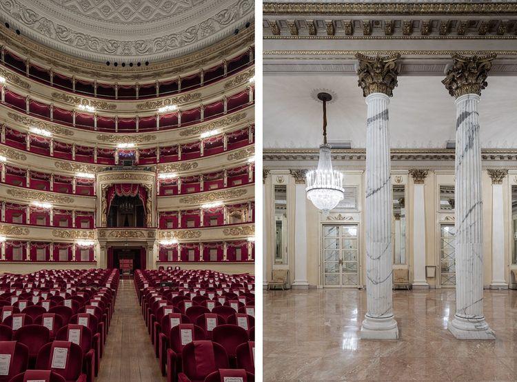 La salle vue depuis la scène avec la loge officielle, le Palco Reale. Le foyer.