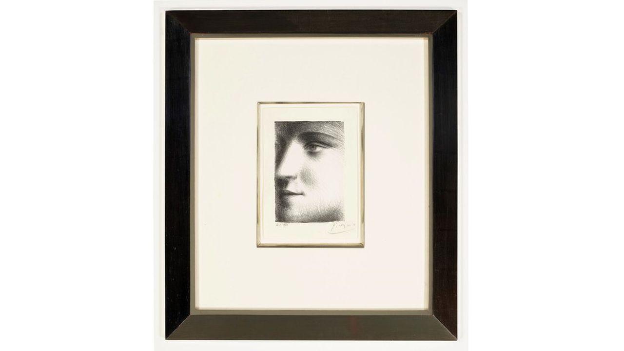 Pablo Picasso (1881-1973). «Visage», lithographie sur papier Japon (1928), signée au crayon, numérotée.