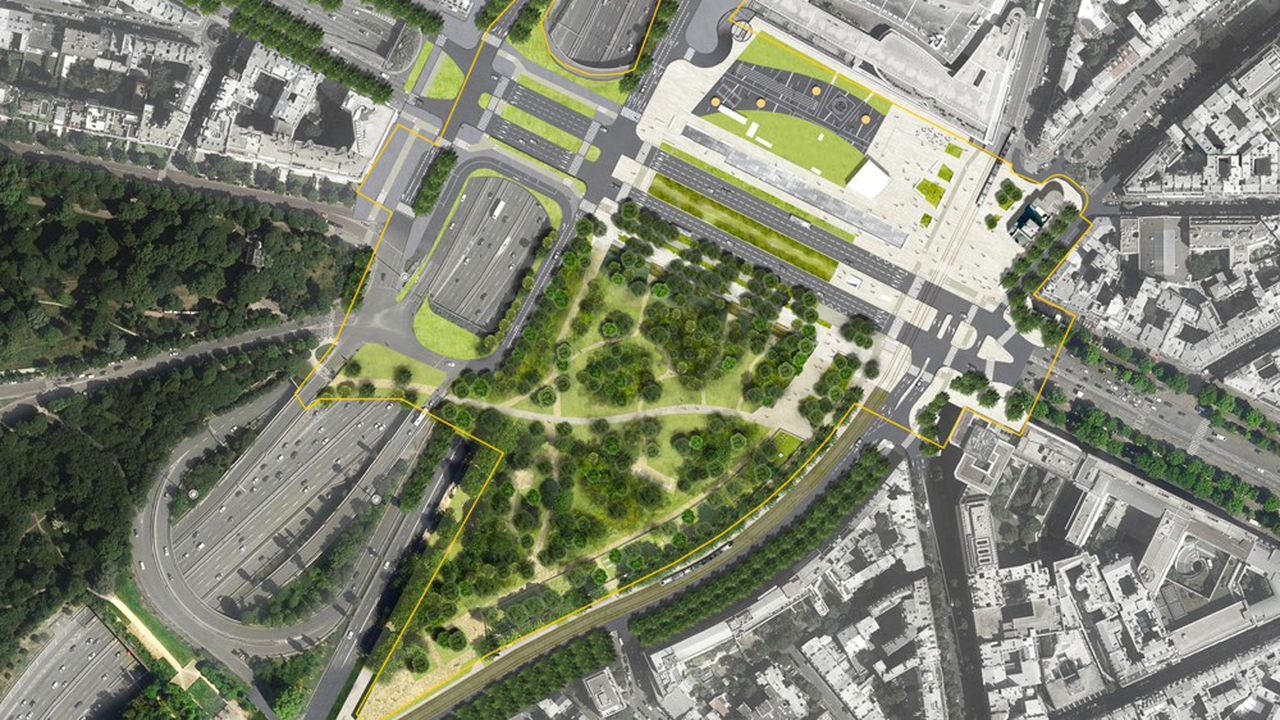 La ville recrée un axe de circulation et une place, en remplacement du carrefour giratoire.