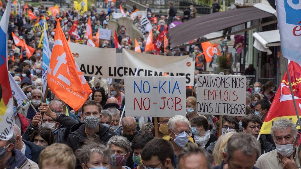Le samedi 4juillet 2020, environ 5.000 personnes manifestent à Lannion contre la suppression de 402 postes sur un total de 772 chez Nokia Lannion.