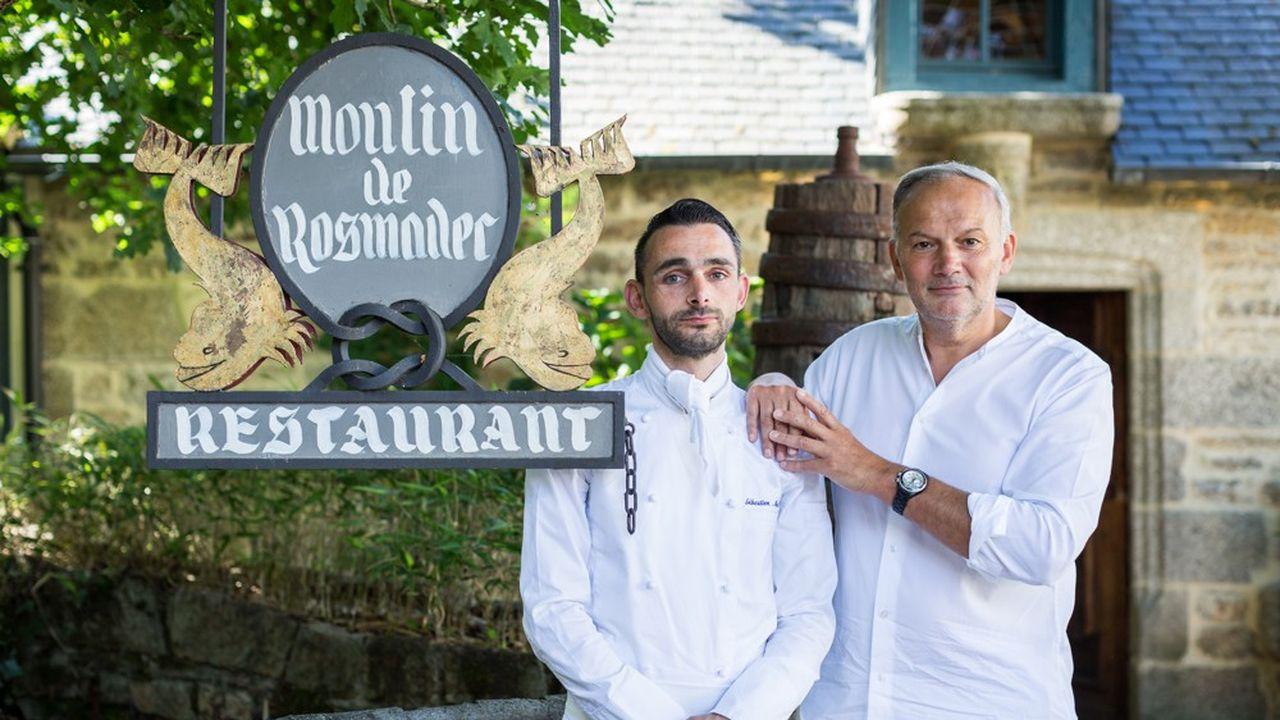 Au Moulin de Rosmadec de Pont-Aven, Christian Le Squer (d) et Sébastien Martinez