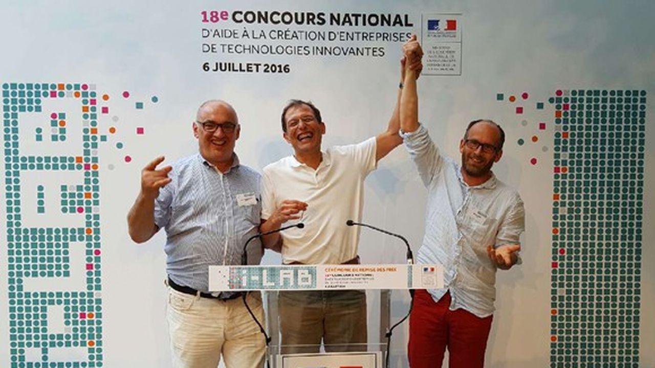 Remise des prix du concours i-Lab en juillet2016. De gauche à droite: Jean-Pascal Bost (fondateur et CFO), Jean-Pierre Nozières (fondateur et CEO) et Gilles Gaudin (fondateur, chercheur CNRS).