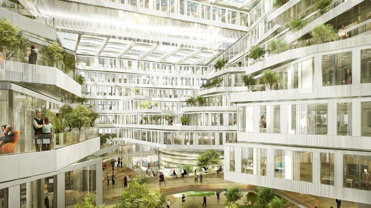 Les collaborateurs du futur siège d'Orange Monde à Issy-les-Moulineaux emménageront dans des plateaux ouverts sur un atrium paysager et des terrasses arborées. Ils bénéficieront d'un grand jardin en toiture.