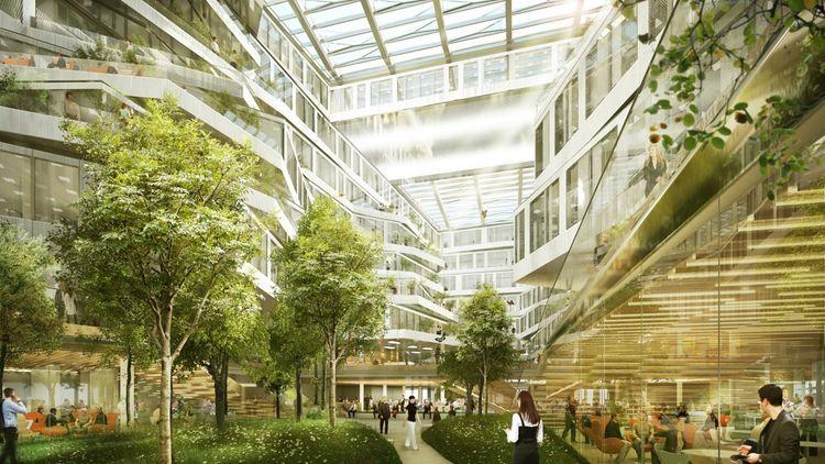 Futur siège d'Orange Monde, l'immeuble Bridge, développé par Altarea-Cogedim avec l'architecte Jean-Paul Viguier, sera livré fin 2021 à Issy-les-Moulineaux.