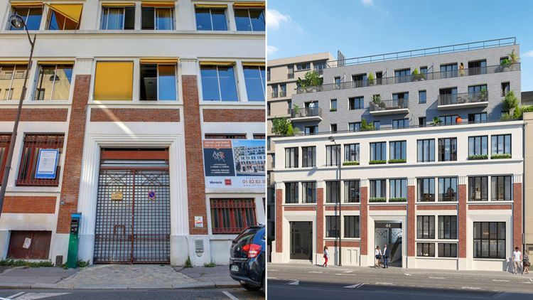 44 rue planchat, Paris 20e, transformation de bureaux en logements avec surélévation de 3 étages tout en gardant la structure du bâtiment. Opération conduite par Novaxia.