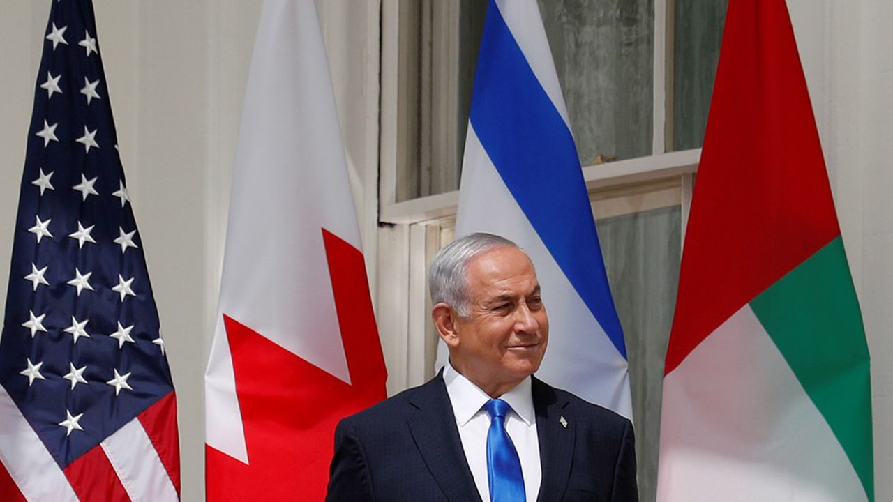 Benjamin Netanyahu à Wahsington, lors de la signature de l'accord avec les Emirats arabes unis, 15 Septembre 2020. REUTERS/Tom Brenner